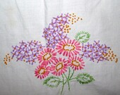 Vintage Lilac Embroidered Linens