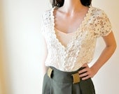 Lace Tunic Blouse in Cream Sm/Med