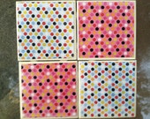 Polka Dots Ceramic Tile Coaster Set of 4