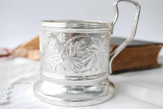 Vintage Russian aluminium tea glass holder, Silver plated.