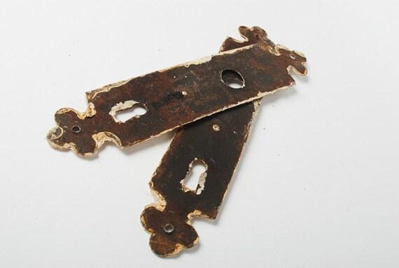 Set of 2  big vintage key hole escutcheon. Shabby chic