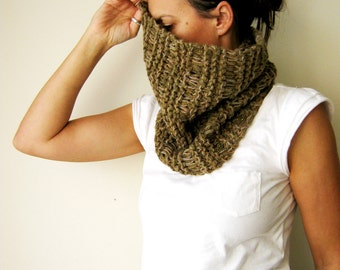Womens Cowl Scarf Neckwarmer Hand knitted in khaki green