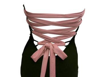 Corset-Type Strapless Maillot with Criss Cross Back