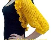 PDF PATTERN Knit Shrug, Knit Bolero, Crochet Flower Brooch, 58