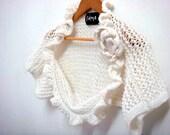 Knit Shrug Pattern, Wedding Bridal Shrug Bolero, Removable Flower Brooch, 29