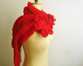 Extra Large Knit Scarf Pattern, Huge Knit Flower Pin, 44