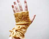 PDF CROCHET PATTERN Fingerless Gloves Arm Warmers with I-cord bow, 25