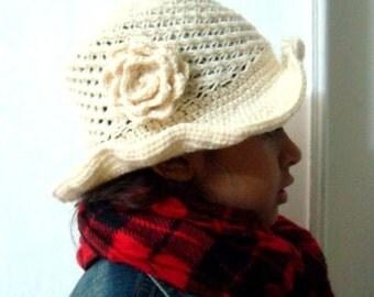 Cloche Hat Knit and Crochet Pattern, Crochet Flower Pattern, Size 4-8 years, 41