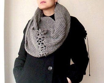 Knit and Crochet PATTERN, Long Infinity Scarf Pattern, Circle Neck Warmer Pattern, Knit Cowl Pattern, Knitting Pattern Snood, 16