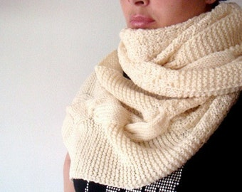 PATTERN Knit Scarf, Unisex Cabled Scarf Pattern,  28