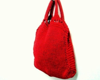 Knit Tote Pattern, Grocery Shopping Bag Knitting Patter