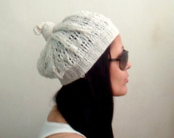 Summer Lace Beret Knit Pattern, Knot Beanie Hat Pattern