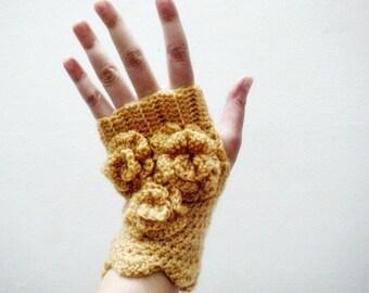 CROCHET PATTERN Fingerless Gloves, Crochet Arm Warmers Pattern, Crochet Flowers Pattern, 24