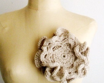 Crochet PATTERN Large Flower Brooch, Romantic Floral Pin, Crochet Flower Corsage Pattern, 7