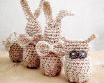Easter Amigurumi Crochet PATTERN, Set Bunny Owl Egg Cover Patterns, Cozy Easter Home Decor, Egg Cover Crochet Pattern, 6