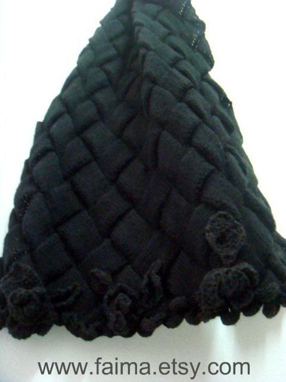 Knitting PATTERN Entrelac Scarf, Oversized Knit Scarf Pattern, Large Scarf Shawl Pattern with Roses, 34