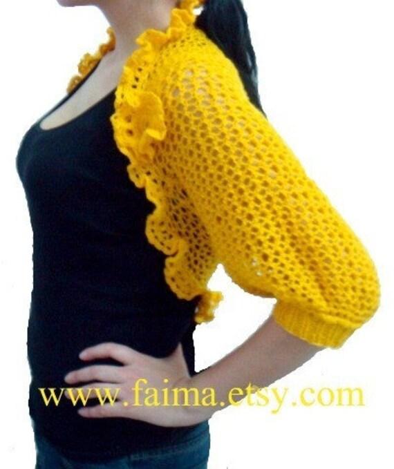 Crochet Flower Shrug Pattern : PDF PATTERN Knitted Shrug Crochet Flower Brooch by ...