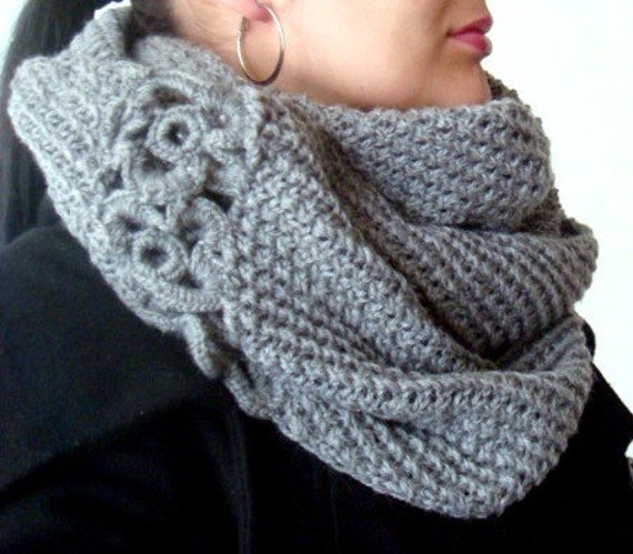 Circle Scarf Knitting Patterns : Circle Scarf Knitting Pattern with Crochet Flowers, 16 from PATTERNSbyFAIMA o...