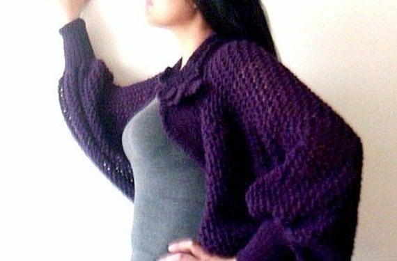 Long Sleeved Shrug Knitting Pattern : Knitting Pattern Long Sleeved Shrug Lace Bolero Flower