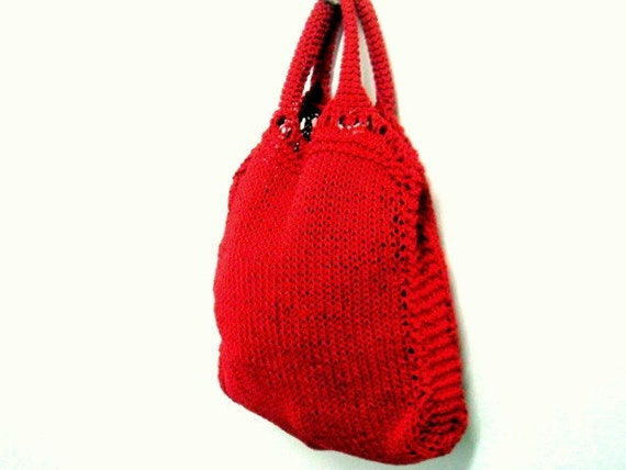 Knitted Tote Bag Pattern : Knit Tote Pattern Grocery Shopping Bag Knitting Pattern