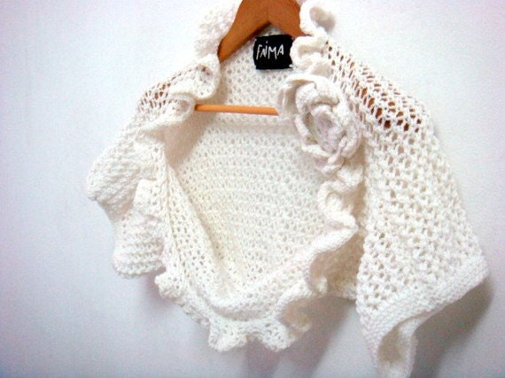 Knit Shrug Pattern, Wedding Bridal Shrug Bolero, Removable Flower Brooch, 29