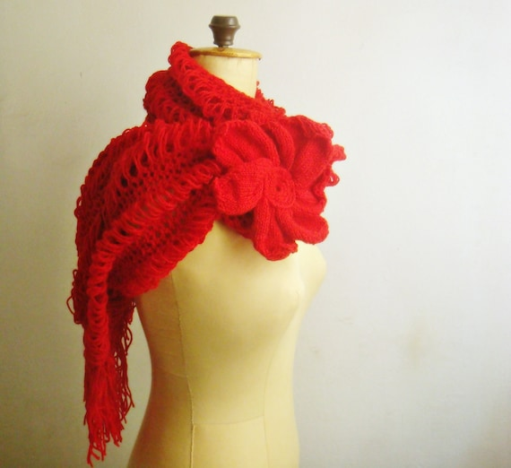 Knitting Patterns For Big Scarves : Extra Large Knit Scarf Pattern Huge Knit Flower Pin 44