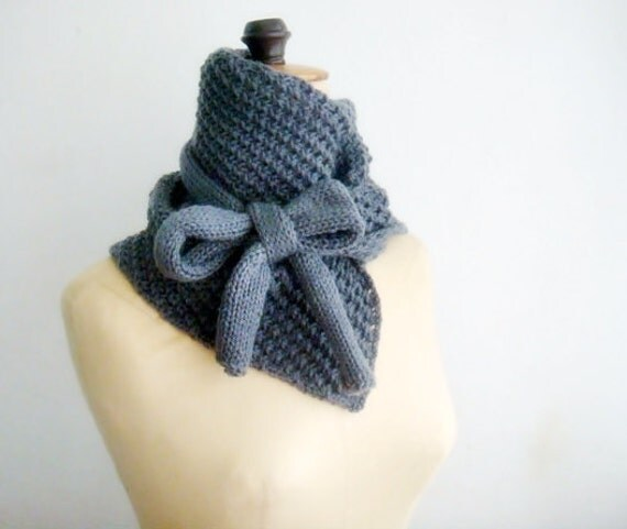 PATTERN Knitted Cowl, Bow Neck Warmer, 14