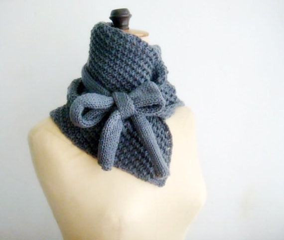 PATTERN Knitted Cowl Bow Neck Warmer 14