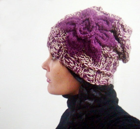 PDF Knitting Pattern Slouchy Hat Beanie with Flower