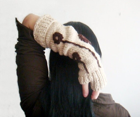 Rustic Hand Warmers Knitting Pattern,Knit Fingerless Gloves Pattern, with Crochet Flowers, 9