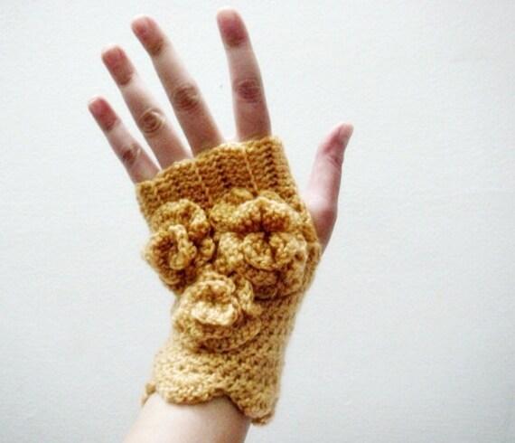 PDF CROCHET PATTERN Fingerless Gloves Arm Warmers, Crochet Flowers, 24