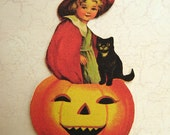 Witch girl pumpkin sitting cutout
