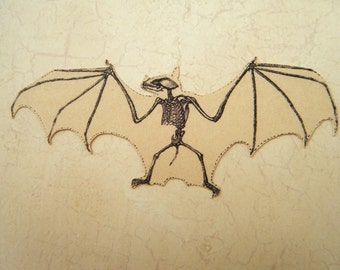 Bat Skeleton Cutout Vintage Image