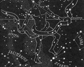 The Serpent & Serpent Bearer Night Sky Star Chart Map 1948 - Northern Stars Constellations - Ophiuchus and Serpens