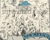 New Mexico Map 1931 ORIGINAL Vintage Picture Map - Antique - Charming Teal Aqua - Albuquerque Roswell Clovis Zuni Reservation RARE USA Map