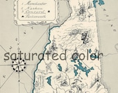 New Hampshire Map Vintage - Map Art - High Res DIGITAL IMAGE of a 1930s Vintage Picture Map - Turquoise Aqua - Charming & Fun