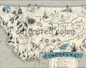 Montana Map 1931 ORIGINAL Vintage  Picture Map - Antique Montana Map - Charming Teal Aqua - Butte Great Falls Billings Helena - RARE USA Map