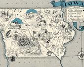 Iowa Map 1931 ORIGINAL Vintage  Picture Map - Antique Map - Charming Teal Aqua - Des Moines Sioux City Davenport Cedar Rapids - RARE USA Map