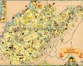 West Virginia Map ORIGINAL 9 x 13 Vintage 1930s Antique Picture Map - Ruth Taylor White - Charleston Huntington Parkersburg Beckley Souveni
