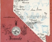 Nevada Map - ORIGINAL Vintage 1960s Picture Map - Fun Retro Colors - Ely Lovelook Elko Fallon Reno Sparks Winnemucoa Tonopah Souvenir