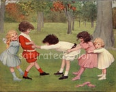 Children Playing London Bridge -  Antique 1909 Children's Chromolithograph Bookplate Illustration - Spring - Festive Fun - Children at Play