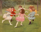 Antique Children at Play Print - Boys Girls - Ring Around the Rosey - 1909 Children's Chromolithograph Book Illustration - Birthday Party