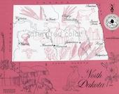 North Dakota Map - ORIGINAL Vintage 1960s Picture Map - Fun Retro Colors - Williston Minot Rugby Medora Mandan Bismarck Jamestown Souvenir