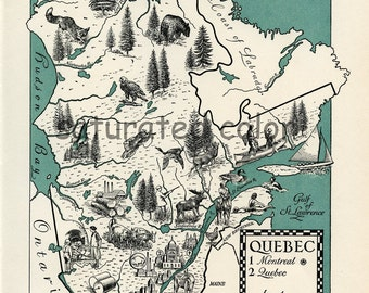 Quebec Canada Map - Vintage 1940s - A Beautifully Illustrated ORIGINAL Vintage Picture Map - Last One