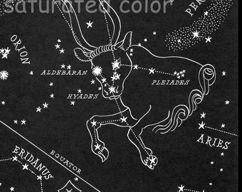 Taurus Night Sky Star Chart Map - 1948 Zodiac Constellation Stars from Astronomy Textbook - to frame or for altered art