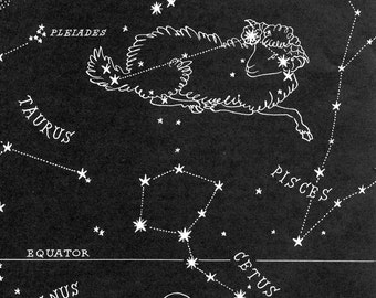 Aries Night Sky Star Chart Map - Zodiac Constellation Stars from 1948 Astronomy Textbook
