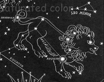 Leo Night Sky Star Chart Map - Zodiac Constellation Stars  from 1948 Astronomy Textbook