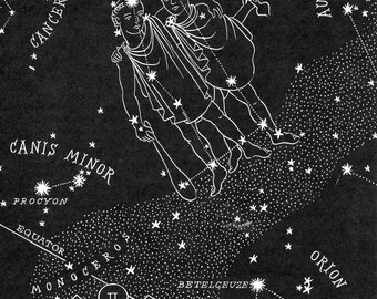 Gemini Night Sky Star Chart Map - 1948 Zodiac Constellation Stars from Astronomy textbook