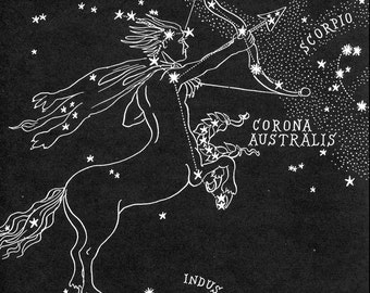 Sagittarius Star Chart Map - Zodiac Constellation Stars  from 1948 Astronomy Textbook