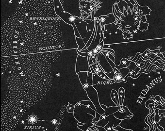 Orion - The Hunter Night Sky Star Chart Map -  Southern Stars Constellations from 1948 Astronomy Textbook